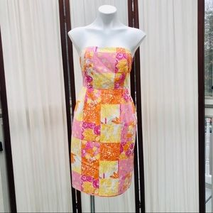 Lilly Pulitzer Patchwork Print Strapless Dress